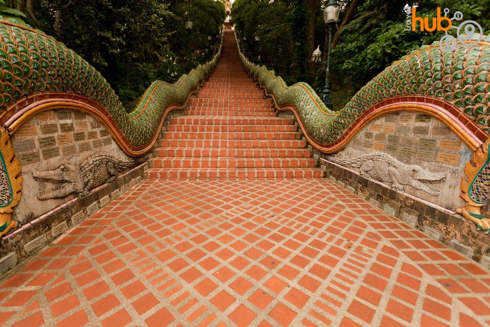 Climb the Naga staircase leading to Doi Suthep