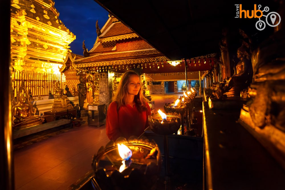 The evening is a lovely time to visit the temple