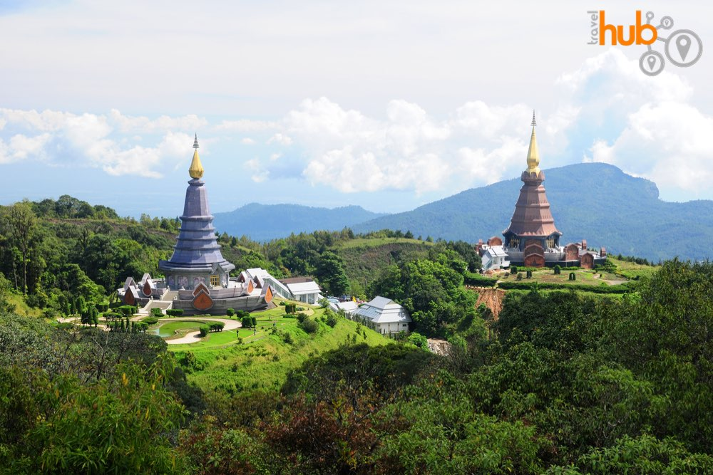 The king and queen pagodas near the top of the mountain