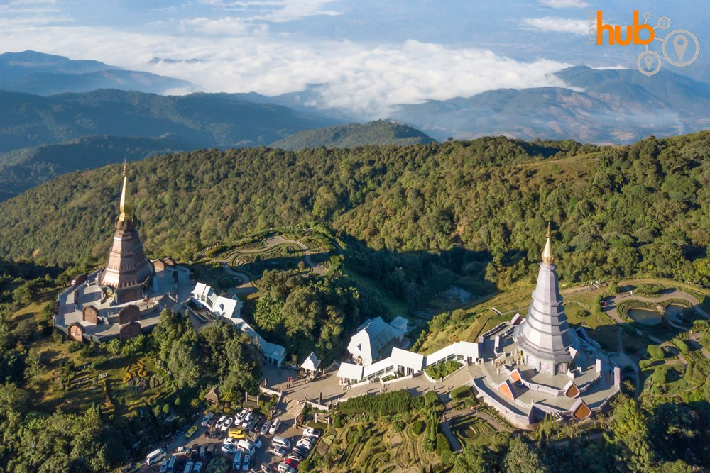 The king and queen pagodas sit near the top of Thailand's highest mountain