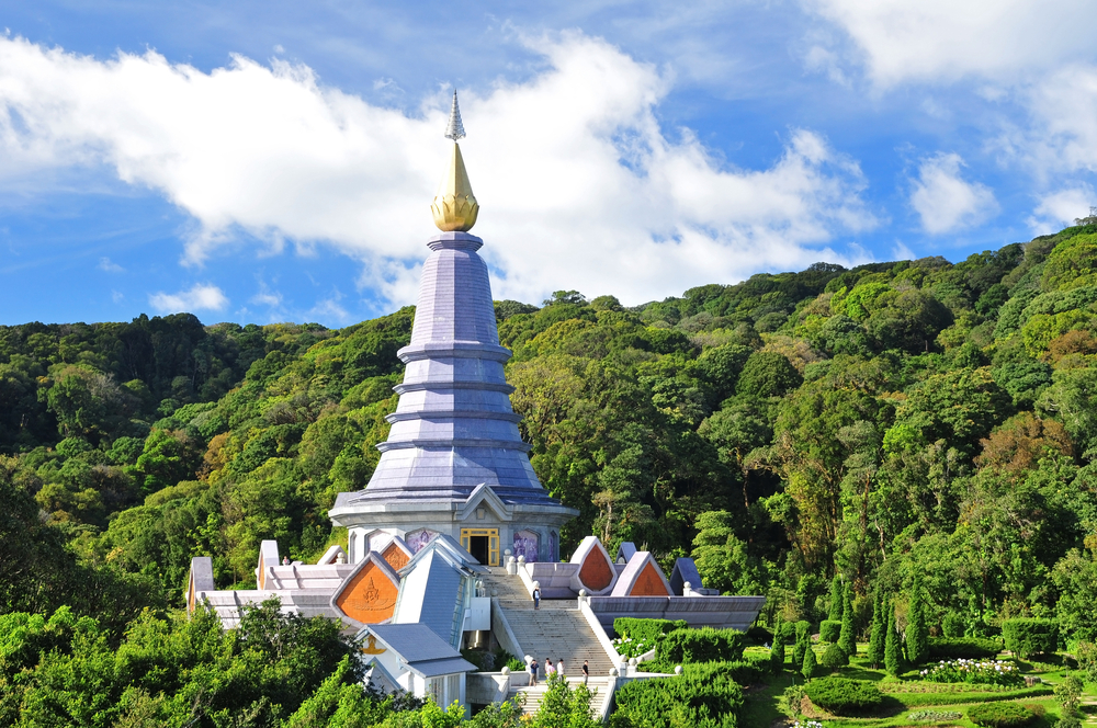 One of the Royal Pagodas nesteled below the sumit of Thailand's highest mountain